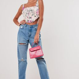 Pink Floral Satin Corset Top   Missguided (US & CA)