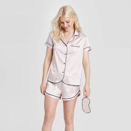 Women's 3 Piece Satin Notch Collar Pajama Set - Stars Above™ | Target