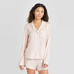 Women's Striped Beautifully Soft Long Sleeve Notch Collar and Short Pajama Set - Stars Above™ S... | Target
