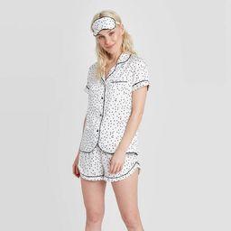 Women's 3 Piece Polka Dot Satin Notch Collar Pajama Set - Stars Above™ White | Target