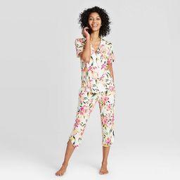 Women's Floral Print Beautifully Soft Short Sleeve Notch Collar and Crop Pajama Set - Stars Above... | Target