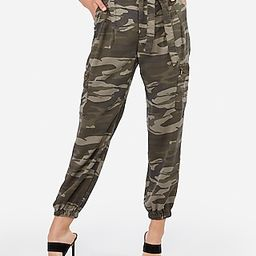 High Waisted Sash Tie Cargo Twill Utility Jogger Pant   Express