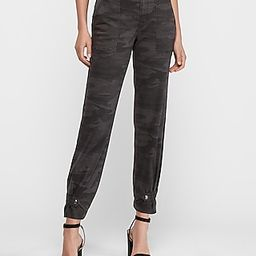 High Waisted Straight Cropped Cinched Hem Camo Pant   Express