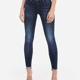 Mid Rise Denim Perfect Raw Hem Skinny Jeans   Express