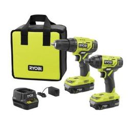 18-Volt ONE+ Lithium-Ion Cordless 2-Tool Combo Kit w/ Drill/Driver, Impact Driver, (2) 1.5 Ah Bat...   The Home Depot
