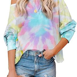 Women's Tie Dye Printed Long Sleeve Sweatshirt Round Neck Casual Loose Pullover Tops Shirts | Amazon (US)