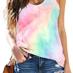 Women's Tie-Dyed Sleeveless Workout Tank Tops Loose Fit Quarantined Social Yoga Athletic T Shirts | Amazon (US)