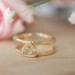 Yellow Topaz  Triangle Gold Vermeil Ring  Wedding    Etsy   Etsy (AU)