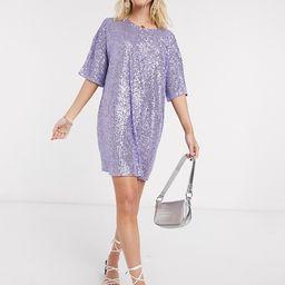 ASOS DESIGN sequin mini dress with short sleeve in lilac | ASOS | ASOS (Global)