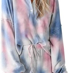 Women Pajama Set Long Sleeve Soft Top and Pants 2 Piece Sleepwear Loungewear Pjs | Amazon (US)