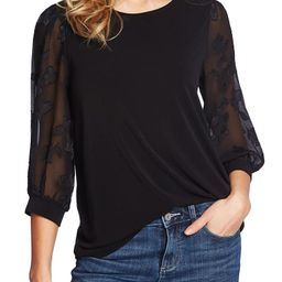 Lace Sleeve Stretch Crepe Blouse | Nordstrom