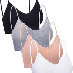 4 Pieces V Neck Cami Bra Padded Seamless Bralette Straps Sleeping Bra for Women Girls | Amazon (US)