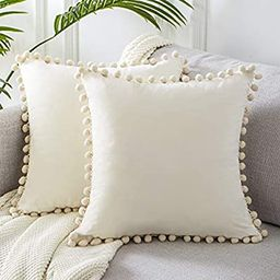 Top Finel Decorative Throw Pillow Covers with Pom-poms Soft Particles Velvet Solid Cushion Covers... | Amazon (US)