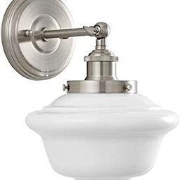 Lavagna 1 Light Bathroom Vanity Brushed Nickel with Milk Glass Linea di Liara LL-WL271-MILK-BN | Amazon (US)