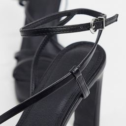 Pimkie square toe heeled sandals in black | ASOS (Global)