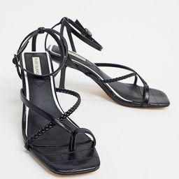 River Island strappy toe loop stiletto heel sandals in black | ASOS (Global)