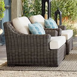 Huntington All-Weather Wicker Slope Arm Lounge Chair | Pottery Barn (US)