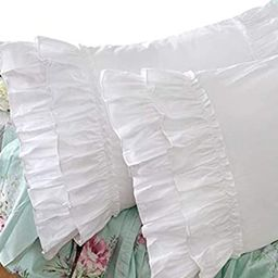 Queen's House Vintage Ruffle Pillow Sham White Pillowcase Standard Size-1 Piece,Z | Amazon (US)