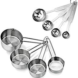 New Star Foodservice 42917 Stainless Steel Measuring Spoons and Measuring Cups Combo, Set of 8 | Amazon (US)