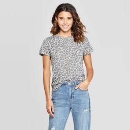 Women's Leopard Print Short Sleeve Graphic T-Shirt (Juniors') - Regular & Plus Gray   Target