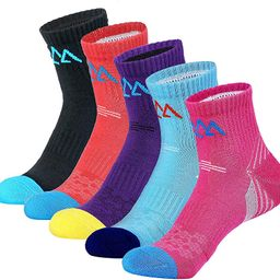 5 Pack Women's Cushioned Hiking Walking Running Socks, Moisture Wicking Blister Resist Multi Perf... | Amazon (US)