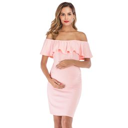 Selfieee Women's Maternity Ruffles Dress Mother Slim Fitted for Photography for Women 00011 Pink ... | Walmart (US)