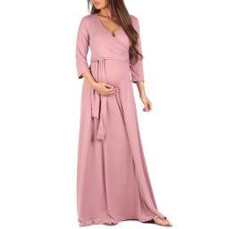 Faux Wrap Maternity Dress with Adjustable Belt | Walmart (US)