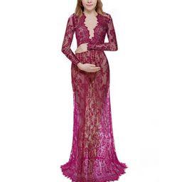 Women Plus Size Lace Sheer Maternity Gown Maxi Dress | Walmart (US)