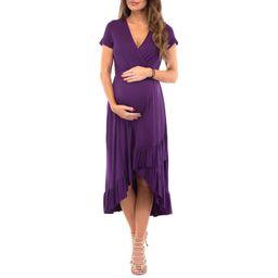 Women's Faux Wrap Hi-Lo Maternity Dress for Baby Shower or Casual Wear | Walmart (US)