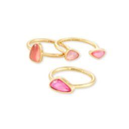 Ivy Gold Ring Set of 3 in Deep Blush Mix   Kendra Scott