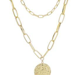 Gold Chain 2 Row Hammered Disk Necklace   Verishop