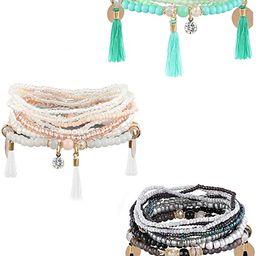 Milacolato 3-6 Sets Bohemian Beaded Bracelets for Women Multilayer Stretch Stackable Bracelet | Amazon (US)