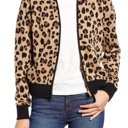 Leopard Bomber Sweater Jacket | Nordstrom