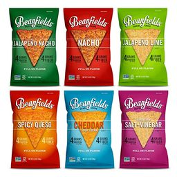Beanfields Bean Chips, High Protein and Fiber, Gluten Free, Vegan Snack, 6 Flavor Pack: Nacho, Ja... | Amazon (US)