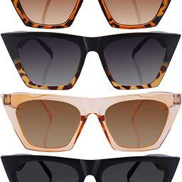 4 Pairs Vintage Square Cat Eye Sunglasses Unisex Mirrored Glasses Retro Cateye Sunglasses for Wom...   Amazon (US)