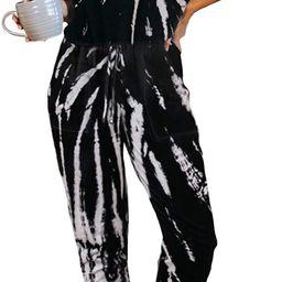 ZESICAWomen'sTieDyePrintedShortSleeveOnePieceJumpsuitLongPantsLoungewear...   Amazon (US)