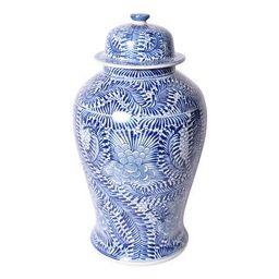 Handmade Blooming Flowers Temple Decorative Jar | Overstock