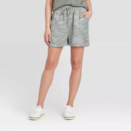 Women's Camo Print Mid-Rise Tie-Front Utility Shorts - Universal Thread™ Green | Target