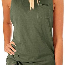 Women's High Neck Tank Tops Summer Sleeveless T Shirts Loose Fit with Pockets   Amazon (US)