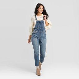 Women's High-Rise Cropped Raw Hem Overalls - Universal Thread™ Medium Wash   Target