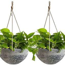 Hanging Planter Flower Plant Pots - 10 Inch Indoor Outdoor Balcony Patio Hanging Basket Set of 2,... | Amazon (US)