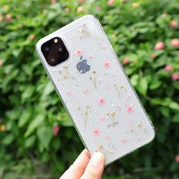 iPhone 11 Pro Flower Case, Feibili Soft Clear Flexible Rubber Pressed Dry Real Flowers Case Girls... | Amazon (US)