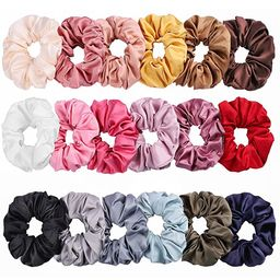 Whaline Satin Hair Scrunchies 18 Colors Elastic Hair Bobbles Ponytail Holder Hair Scrunchy Vintag...   Amazon (US)