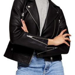 Topshop Fred Faux Leather Biker Jacket (Petite)   Nordstrom
