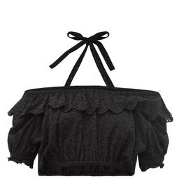 Sir - Amelie Cropped Broderie Anglaise Top - Womens - Black   Matchesfashion (UK)