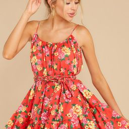 Too Alluring Red Floral Print Dress   Red Dress
