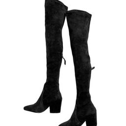 'Ellis' Black Classic Over The Knee Suede Leather Boots   Goodnight Macaroon