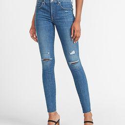 Mid Rise Hyper Stretch Ripped Raw Hem Skinny Jeans   Express