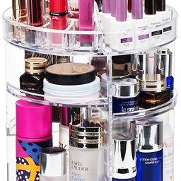 360-Degree Rotating Clear Makeup Organizer, Adjustable Acrylic Makeup Organizer with Makeup Brush... | Amazon (US)