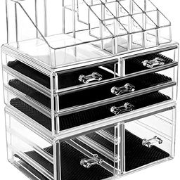 HBlife Makeup Organizer 3 Pieces Acrylic Cosmetic Storage Drawers and Jewelry Display Box | Amazon (US)